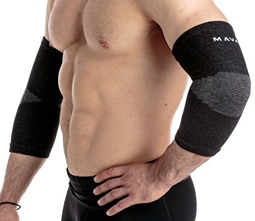 Mava Sports Elbow Sleeve Recovery Compression, Size L – Support for Workouts, Weightlifting, Arthritis, Tendonitis, Tennis and Golfer's Elbow – Bamboo Charcoal Athletic Elbow Compression Sleeves