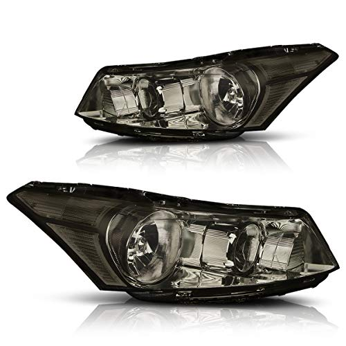Direct Replacement Headlight Assembly Compatible with Honda Accord 08-12 Headlamps with Smoked Lens Clear Corner