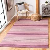 Safavieh Marbella Collection MRB281A Alfombra de área de lana lila de tejido plano (4 x 6 pies)