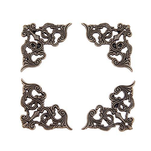 NO LOGO FMN-Home, Bronze 4pcs Antique Meubles Coin Supports Bijoux vin Case Box Livre Album Album d'angle Protector embellissements 62 * 35 mm