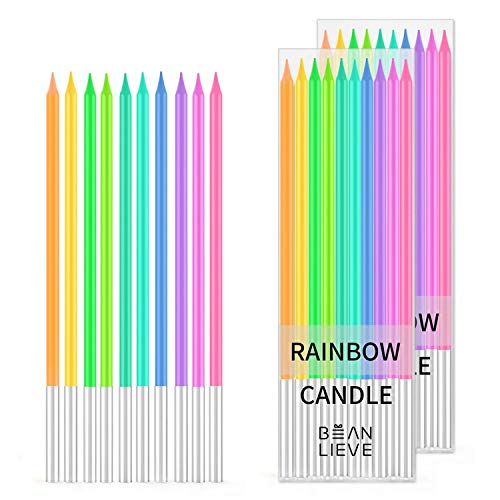 BEANLIEVE 20-Count Rainbow Birthday Candles - Colorful Birthday Candle Long Thin Cake Candles...