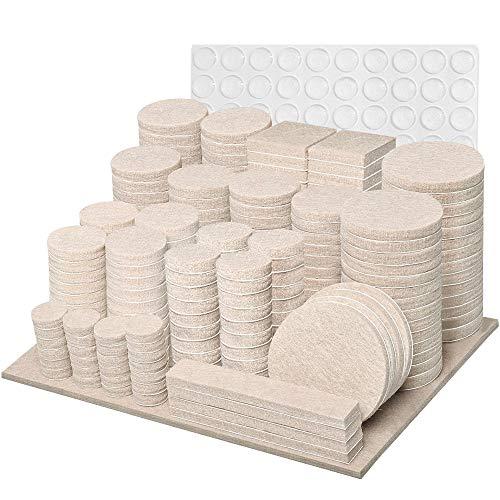 Filzgleiter Selbstklebend - Möbelgleiter 300 Stück - Beige - Stuhl Filzgleiter Filz Dicke - 5mm Mit Idealer Klebkraft, Geeignet für Stühle und Schränke, um Kratzer auf Dem Boden zu Vermeiden