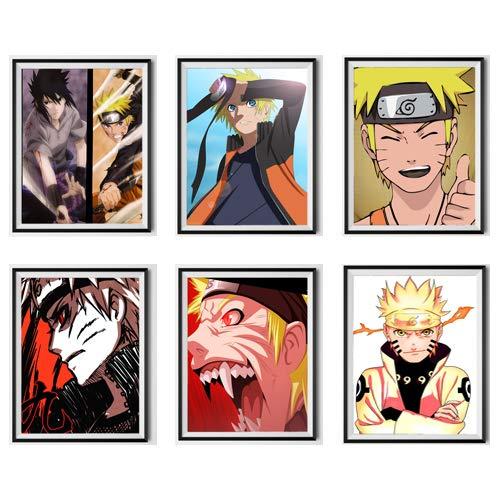 Póster digital colorido de Naruto Sennin modelo Uchiha Sasuke para decoración de dormitorio de niños, 20,3 x 25,4 cm, juego de 6, sin marco