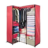 Dporticus Portable Corner Clothes Closet Wardrobe Storage Organizer with Metal Shelves and Dustproof Non-Woven Fabric Cover in Red