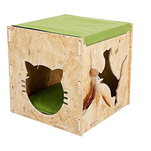 Zjyfywpj OSB-Brett Katzenhängemattenraum Holzzwinger Bett Katzenloch Einfach und Schön Um Ihr Haustier Komfortabler Leben Zu Lassen (Farbe : Green)