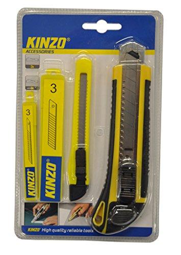 Kinzo - Set de Cutter professionnel avec lames de rechange - 4 pièces - 18x4 cm