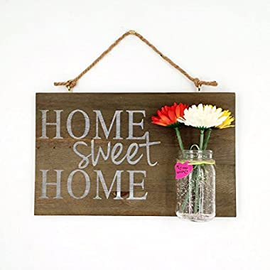 Yonor Rustic Wood Home Welcome Sign, Home Sweet Home Sign, (Home/Sweet/Home, Walnut)