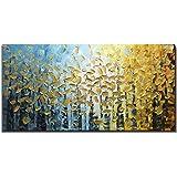 Óleo Pintura Bosque dorado Cuadros Decorativos Sobre lienzo 3D, Totalmente Pintada mano Pared Cuadros art deco, Abstractas cuadros decorativos para recamara salas,Sin marco,60x120cm(24x48inch)