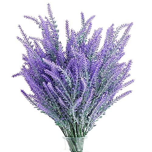12 Bundles Artificial Lavender Flowers, Purple Plant Bouquets for Wedding, Decorations, Farmhouse Home Decor