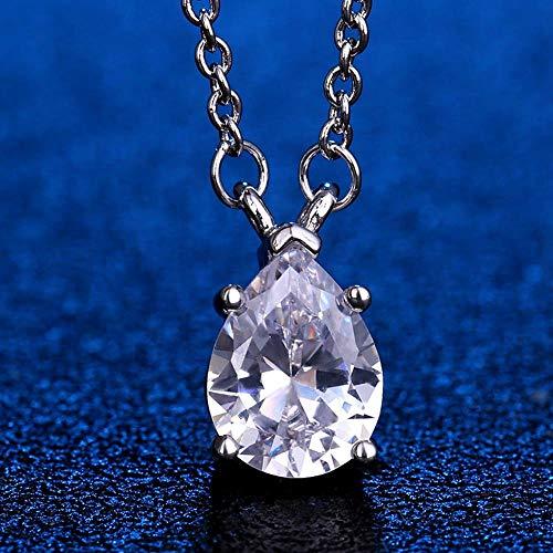 Halskette Massiv Sterling Silber Birne Wassertropfen Erstellt Moissanite Edelstein Anhänger Halskette Edlen Schmuck Geschenk Halskette, Weiß, 45 cm
