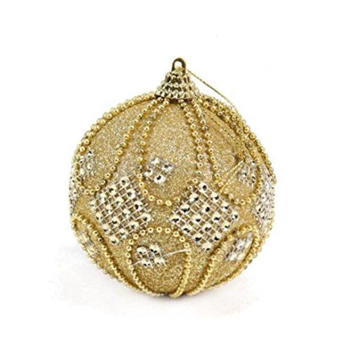Bolas de Navidad con diamantes de imitación, perlas de lujo, cortina de árbol de Navidad, adorno para fiesta, boda, decoración del hogar, espuma, Amarillo, 8 cm