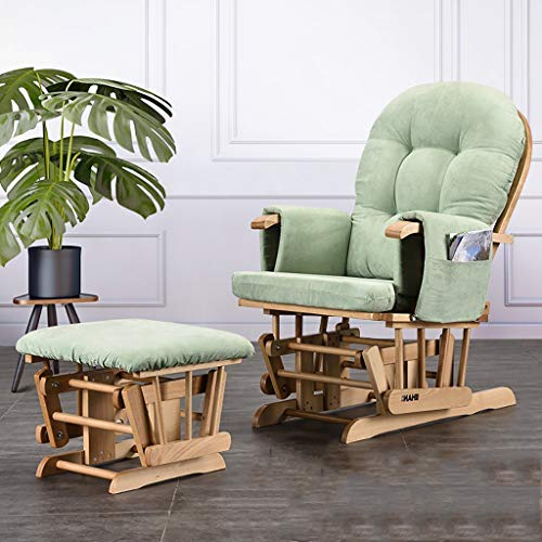 Nursing Glider Lehnsegelflugzeug und Hocker mit gepolsterter Bank, Nursing Glider Chair mit Leinenbezug, Glider Chair und Ottoman Set