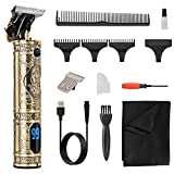 Hair Clippers Trimmer for Men,Hair Beard Body Arm Professional Electric T Blade Liners Outline Edgers Shaver 0mm Bald Zero Gap Grooming Kit LED Low Noise Cordless Rechargeable with Guide Combs(Gold)