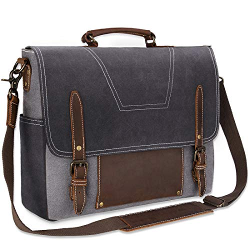 NEWHEY Mens Messenger Bag Laptop Shoulder Waterproof Computer Leather Satchel Briefcases Vintage Notebook Satchel Designer School Work Bags Grey