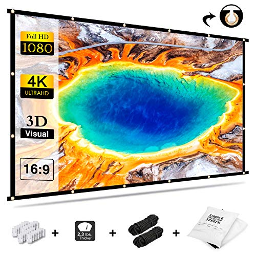 Projektionsleinwand 120 Zoll Beamer Leinwand, GKG Beamerleinwand 16:9 Full-HD Einfache Zusammenfaltbare Projektionswand Anti-Falten Video Projektor-Leinwand für Heimkino Indoor Meeting und Hinterhof