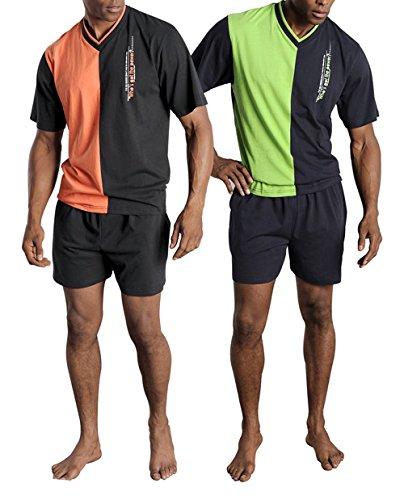 Le Jogger Herren Pyjama kurz, 2er Pack, V-Ausschnitt, Schlafanzug, 724107 (44/46, farb-set)