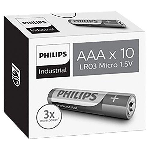 Philips Industrial Alkaline Batterien AAA Silber/grün 10 Stück