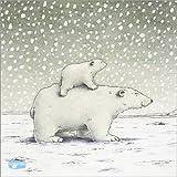 Poster 13 x 13 cm: Der kleine Eisbär auf dem Rücken -