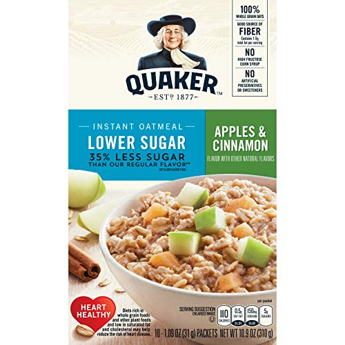 Quaker Instant Oatmeal, Lower Sugar, Apple Cinnamon, Breakfast Cereal, 10 Packets