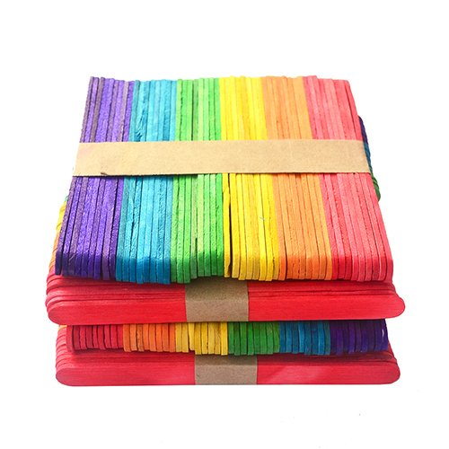 CrazyEve 200pcs Craft Sticks 4.5 Inch Length DIY Wood Art Popsicle Lollipop Sticks Kids Party Use (Colorful)