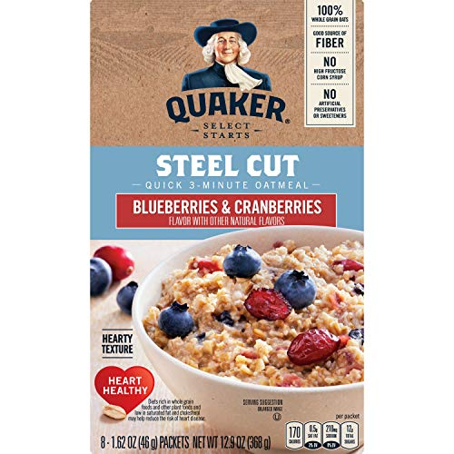 Quaker Instant Steel Cut Oatmeal Cranberries And Blueberries 8 Ct