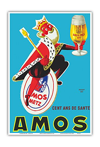 Pacifica Island Art Amos Pils Birra-100 Anni di Salute-Gambrinus King of Beer-Vintage Advertising Poster di Raymond Gay c.1960-Master Stampa Artistica -x13in 19in