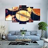 UDPBH 5 Paneles HD Impreso Canvas Art Drum Set Música Instrumento Pintura Cuadros De Pared para Sala De Estar Moderna