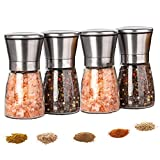 Salt And Pepper Grinder Set (4 Pcs)-Durable Stainless Steel Salt And Pepper Grinder-Spice Grinder...