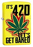 Zippo It's 420, Let's Get Baked Marijuana Leaf Cannabis Official Lighter Neon Yellow Matte