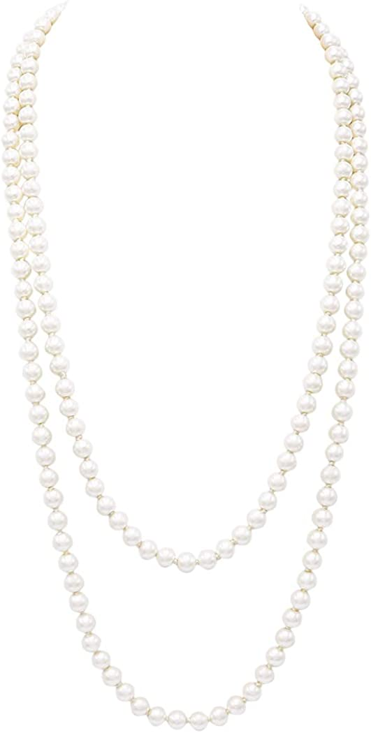 Rosemarie & Jubalee Women's Glass Faux Pearl Knotted Simulated Long Pearl Necklace