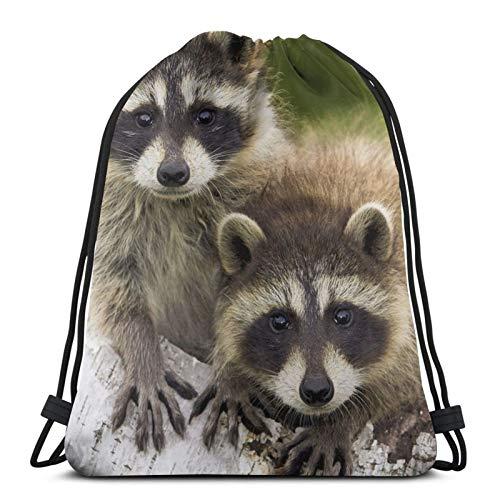 Raccoons Babies Tree Unisex Drawstring Backpack Bag, Polyester Cinch Sack, Waterproof Sport Gym Bag Casual Daypack for Women