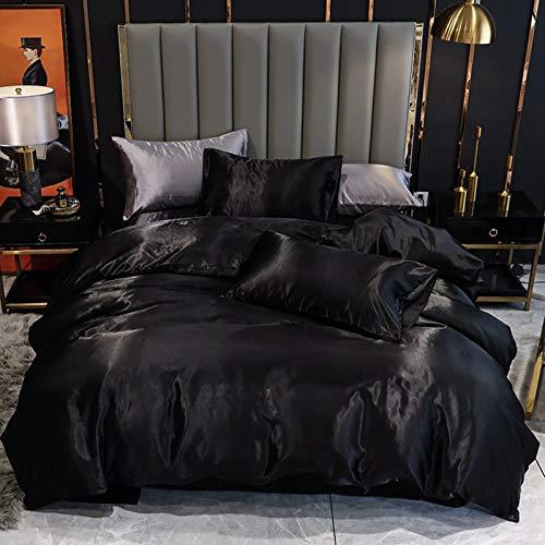 XUNGENG - Funda de edredón de imitación de seda para todas las estaciones, juego de cama de 3 piezas, juego de funda nórdica y funda de almohada de color liso, para todas las estaciones, 200 x 230 cm