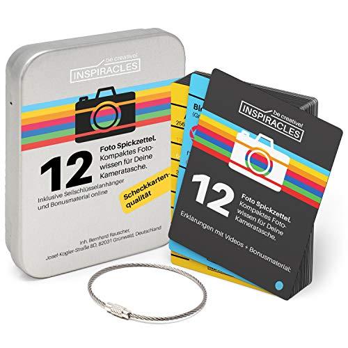 Inspiracles Foto Spickzettel Spiegelreflexkamera Fotografie - Top zum fotografieren Lernen für Foto Anfänger, Geschenk mit Metalldose und Seilanhänger, Scheckkarten-Größe und -Qualität