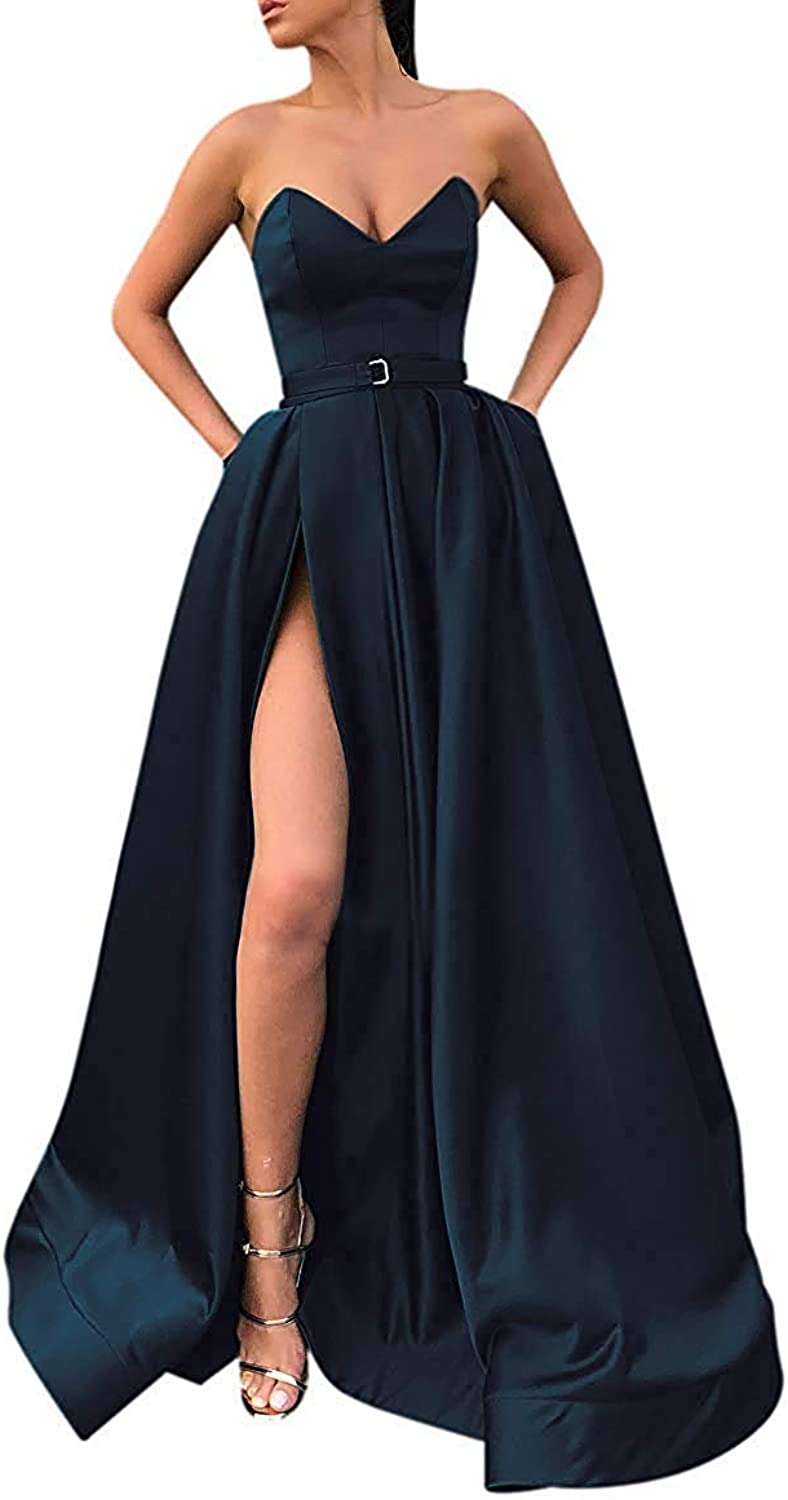 JQLD Sexy Sweetheart Off Shoulder High Slit Prom Dresses Long Satin Formal Evening Gown with Pockets