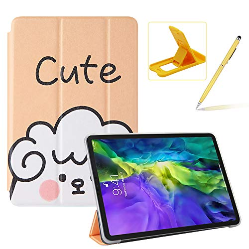 Herzzer Three Fold Leather Case for iPad Pro 11 inch 2018/2020,Slim Multi-Angle View Folio Stand Premium Colorful Print PU Leather Protective Smart Cover with Clear Back Case,Cute Sheep