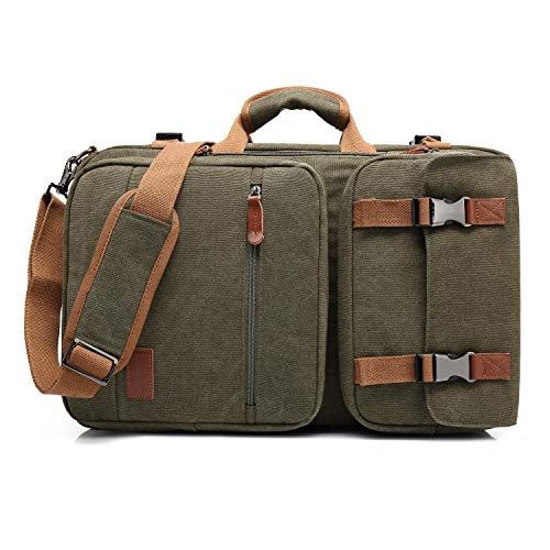 THE CLOWNFISH CoolBELL 3 in 1 Convertible Unisex Canvas Business Briefcase Backpack for 17.3 inch Laptop Travel Rucksack Multi-Functional Handbag with Leather Logo and Pullers (Green)