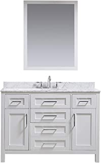 Ove Decors White Maya 48 Single Sink Vanity with Marble Top, Backsplash and Mirror, 48 inches