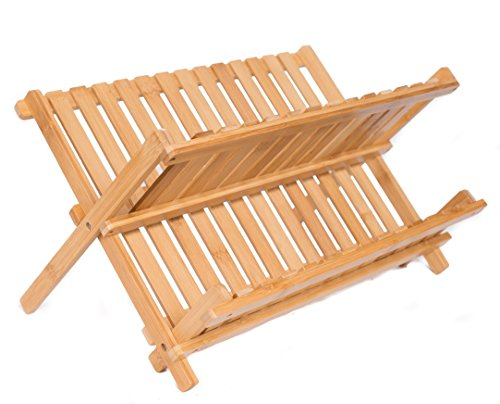 Collapsible Bamboo Drying Dish Rack - 2 Tier Level Folding Dish Rack for Counter Top - Quick Dry - Wooden Wood Dish Drainer - Kitchen Drying Utensils & Dishes - Plates Bowls - Easy Clean - Foldable