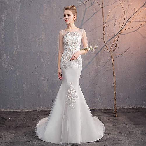 Kleid Hochzeitskleid ein Rock Hochzeitskleid Französisch Minimalistischen Schlanke Wort Schulter Brautkleid Zwei Kleine Fischschwanz War Dünn Braut Verheiratet Trailing Brautkleid Prom/White/m,