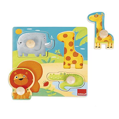 Goula - Puzzle animales selva, Encajable de madera para niños a partir de 1 año (Juguete)