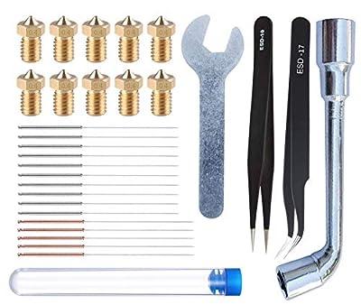 HAWKUNG 29pcs 3D Printing Tool Kit, 10pcs 0.4mm Nozzle + 15pcs Cleaning Needle (10 x 0.35mm + 5 x 0.4mm) + 2pcs Tweezers + 2pcs Spanner for 3D Printer V6 Nozzle Replacement, Clean, Installation