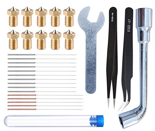 HAWKUNG 29pcs 3D Printing Tool Kit, 10pcs 0.4mm Nozzle + 15pcs Cleaning Needle (10 x 0.35mm + 5 x 0.4mm) + 2pcs Tweezers + 2pcs Spanner for 3D Printer V6 Nozzle Replacement, Clean, Installation