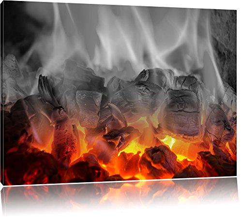 brennende Holzkohle in Kamin schwarz/weiß Format: 80x60 auf Leinwand, XXL riesige Bilder fertig gerahmt mit Keilrahmen, Kunstdruck auf Wandbild mit Rahmen, günstiger als Gemälde oder Ölbild, kein Poster oder Plakat