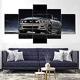 HFDSA Lienzo 5 Piezas Moderno Cuadro En Lienzo Fod Mustang Muscle Car 5 Piezas Salón De Hogardecoracion De Pared Arte Pared Foto Innovador Regalo (Enmarcado)