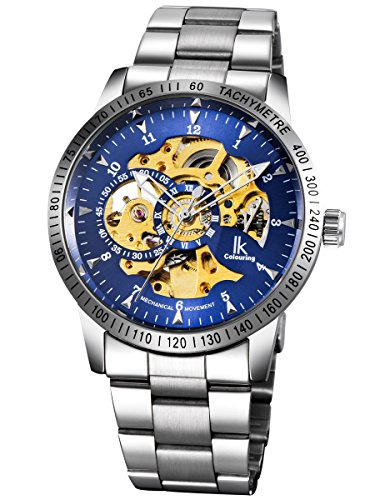 Alienwork IK Herren Damen mechanische Automatik-Uhr Silber mit Edelstahl Metallarmband blau Skelett