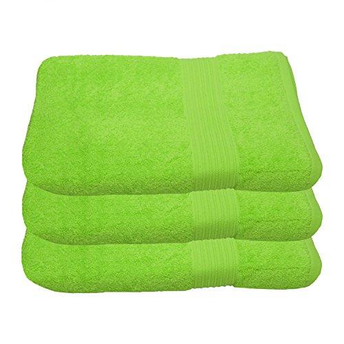 Julie Julsen Lot de 3 serviettes de bain sans produits chimiques - 600 g/m² - Vert pomme - 70 x 140 cm - 100 % coton - Certifié Öko-Tex Std 100 - Doux et absorbant - Lavable en machine