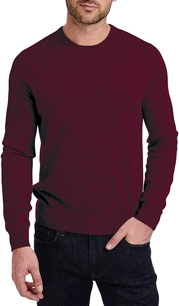 Mens Classic Pullover Sweater Crew Neck - NRUTUP Cable Knit Casual Pullover Sweater, Cashmere Feel Winter Work Basic