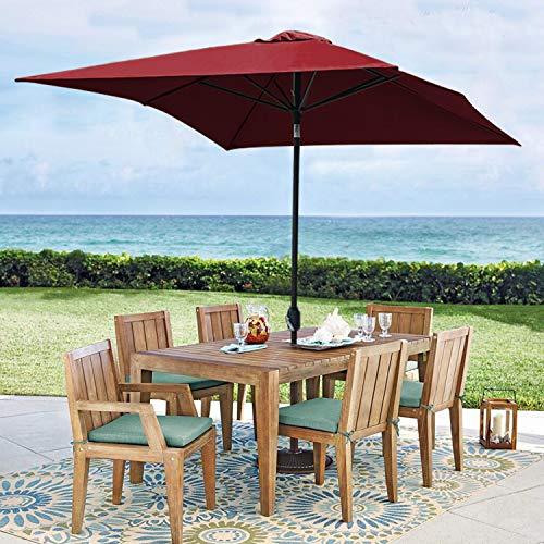 Blissun Rectangular Patio Umbrella 10' Outdoor Market Table Umbrella with Push Button Tilt and Crank (Red)