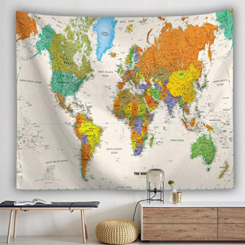 Saingace - Mapa del Mundo - Tapiz Decorativo para Pared de Bosque, Man