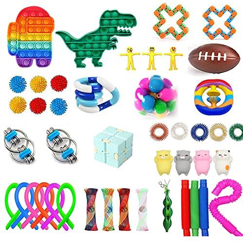 XJH 44 Pcs Fidget Toys Pack Sensory Push Bubble Pop Toy Stress Anxiety Relief Toys Set for Autistic...
